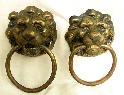 "ANTIQUE LION HEAD HANDLES - PULLS *CAST BRASS* LARGE 3"" MASKS c.1880"