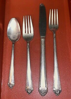 Vintage Silver Plate Flatware Silverware Wm Rogers Cotillion 4 Pc Place Setting