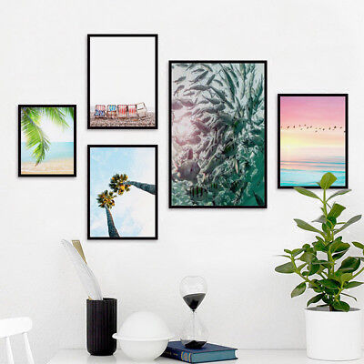 ALS_ KQ_ Canvas Plant Painting Wall Tropical Art Picture Unframed Poster Home De