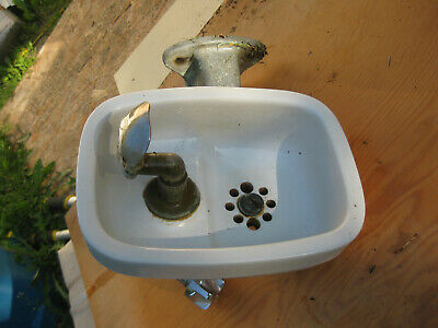 Vintage Crane Porcelain Wall Water Drinking Fountain Bubbler Brass Cast iron