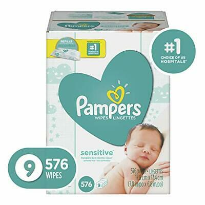 Pampers Sensitive Water-Based Baby Diaper Wipes, Hypoallergenic&Unscented-576Ct