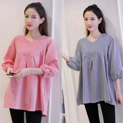 Comfy Maternity Blouse Women's Pregnancy Loose Top Shirts Clothing Plaid V-neck