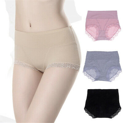 Women Sexy Pure Color High Waist Cotton Lace Slimming Briefs Underwear Panties