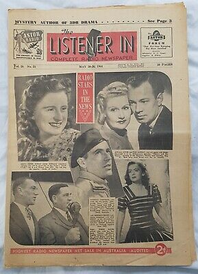 THE LISTENER IN newspaper. May 20-26 1944 original 20 page RADIO Guide in VGC