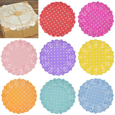"10pcs 4.5"" Round Paper-Lace Doilies Cookie Cake Placemat for Wedding Party Decor"