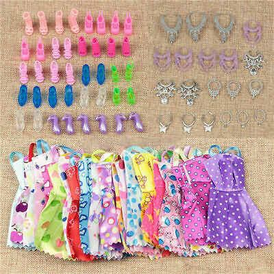 60pcs/set Barbie Doll Dresses, Shoes and jewellery Clothes Accessories Girl Gift