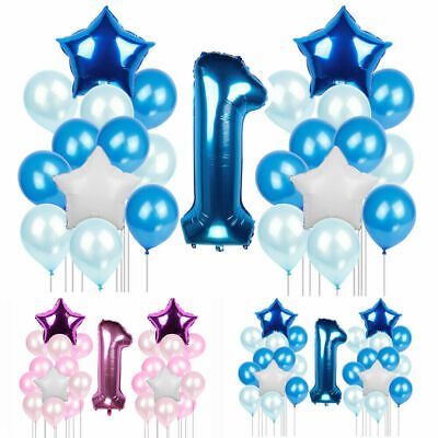 25pcs 1st Birthday Number '1' Foil Balloons Baby Shower Party Decor Baloons