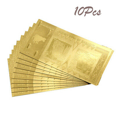 Gold Foil 100 Trillion Zimbabwe Dollars Banknote 10Pcs For Ornament CN Warehouse