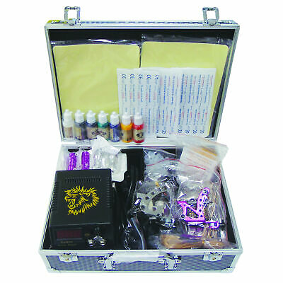 Deluxe Tattoo Kit 2 Tattoo Machine Guns Inks Power Supply Needle Grips Tips etc