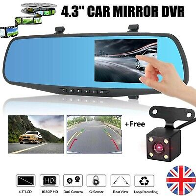 "4.3"" Car DVR HD 1080P Dual Lens Rearview Mirror Dash Cam Recorder Rear Camera UK"
