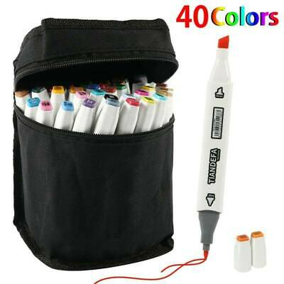 24/40/100X Colour Dual Head Sketch Paint Marker Pen Drawing Graphic Artist Brush