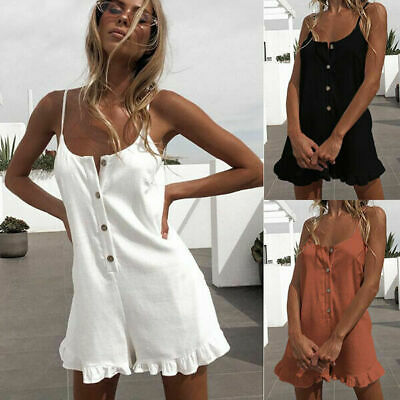 Women's Mini Summer Linen Cotton Romper Strappy Shorts Ruffle Playsuit Jumpsuit