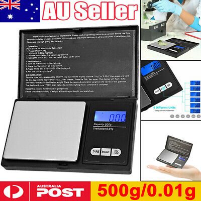 500g/0.01g Digital Scale Jewelry Gold Silver Coin Gram Pocket Size Herb Grain AU