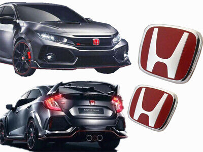 2X JDM Red H Front and Rear Emblem Badge Fit For HONDA CIVIC 2016-2019  4 Door