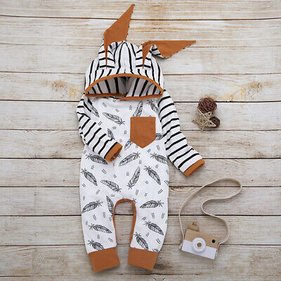Newborn Baby Boy Girl Jumpsuit Cute 3D Rabbit Ear Striped Bodysuit Clothes 0-24M