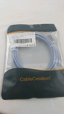 USB 2.0 type-c to USB type-c 9.8 foot Cable Creation NEW Sky grey