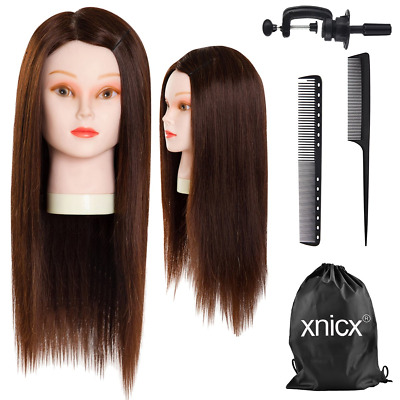 xnicx 70% Professional Real Hair 22 Inch Hairdressing Training Head Mannequin