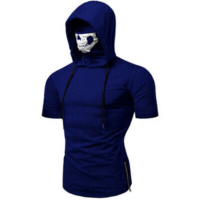 Summer Mens T Shirts Cotton Solid Color Mask Hoodie Fancy Dress Skull Hooded Top