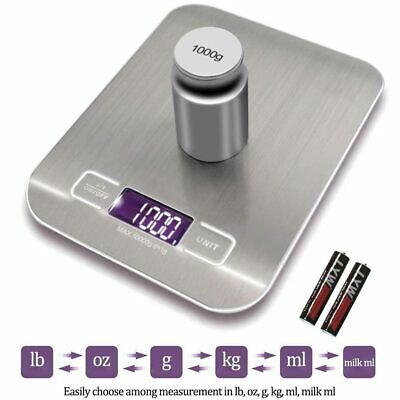 10KG Digital Kitchen Scales Stainless Steel Electronic LCD Cooking Weighing