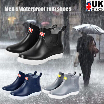 Men's Waterproof Rain Boots Slip On Ankle Garden Wellies Outdoor Shoes Size Uk