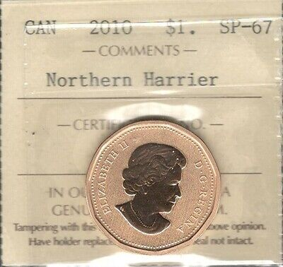 2010 NORTHERN HARRIER $1.00 ICCS SP-67 GEM++ ** MAGNIFICENT QEII Canada Loonie