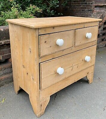 Small Rustic Victorian Pine Chest Of Drawers