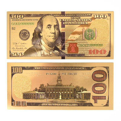 USA Gold Plated Banknotes Paper Money Non Currency Collection Gifts PB