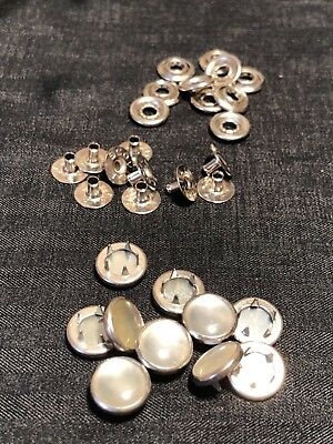 Ginger Snaps White PEARL SNAP FASTENERS Buttons Western Shirt Crafts Vintage