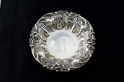Antique Meriden Britannia Co. Sterling Silver Repousse Floral Bowl 510