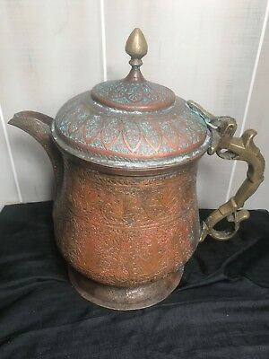 """Antique Middle Eastern Etched Copper - Brass and Steel Coffee Pot or Kettle 13"""""""