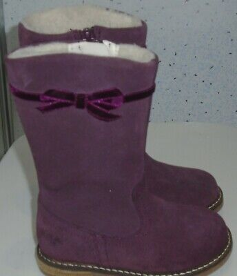 Toddler Girls Next Burgundy Suede Leather High Leg Boots Uk 5 Eur 21.5 Zips Bow