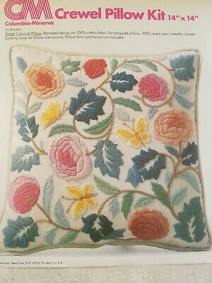 """Vintage Columbia Minerva 14"""" Pastel Colonial Pillow Crewel Embroidery Kit"""