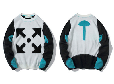 new men OFF WHITE arrow printed round neck mohair knit sweater Unisex sweater