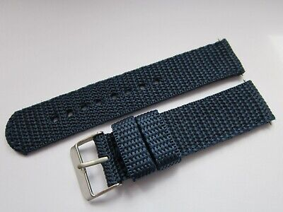 A Gents 20mm Blue Coloured Nylon Military Style Watch Strap-Steel Buckle & Pins
