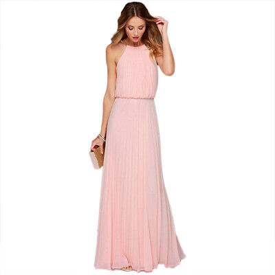 Women's Maxi Dress Long Ball Gown Party Pleated Sleeveless Cocktail Ladies Plain