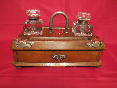 Rare Victorian Wooden Inkwell Set with Draw