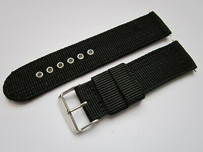 Gents 22mm Black Nylon Military Style Watch Strap-Stainless Steel Buckle & Pins