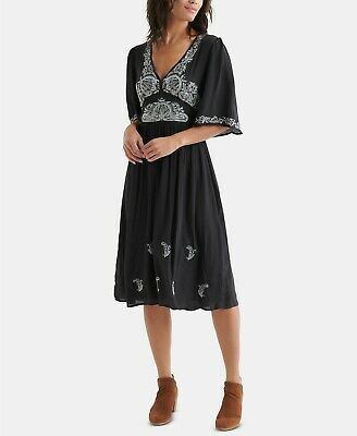New $199 Lucky Brand Women's Black Embroidered Flutter Sleeve Midi Dress Size S