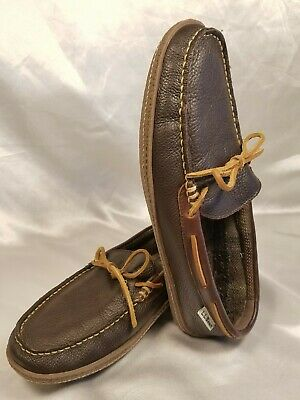 dc064d27fc6eb LL Bean Mens Size US 11 Medium Moccasin Slippers Brown Leather Flannel Lined