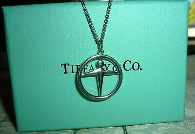 "Tiffany & Co. Manpower Sterling Silver 4.9 gm Pendant W18"" Matching Chain & Box"
