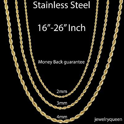 Gold Plated Stainless Steel Rope Chain Necklace Bracelet Men Women 2mm-8mm