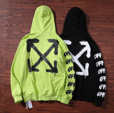 new OFF WHITE Paint arrow unisex hooded thin section pullover sweater coat