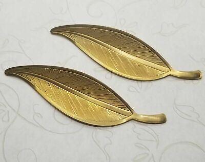 Large Raw Solid Brass Leaves (2) - S2449