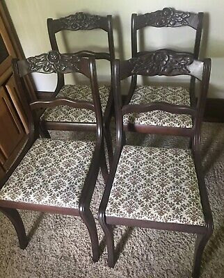 Set Of 4 Duncan Phyfe Antique Mahogany Wood Dining Side Chairs Carved Roses