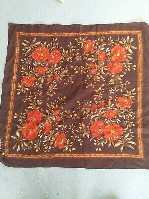 Brown red floralVintage  Scarf  fiorini. Still has brass tag.26ins by 26ins