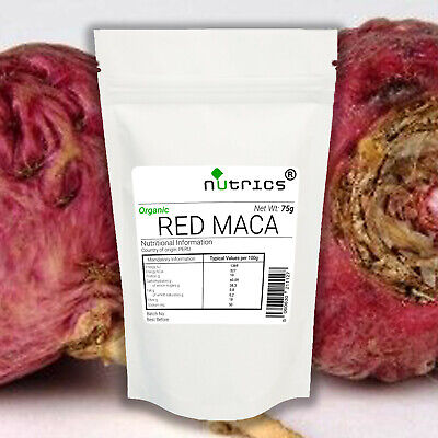Nutrics® Organic 100% Pure RED MACA Root Powder 75g Superfood Peruvian Ginseng