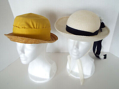 2 Vintage Straw Hats Yellow Vento Summer Casual  Mid Century Lot