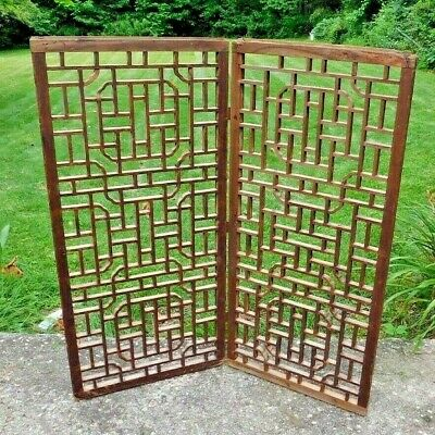 PAIR Antique Chinese Chippendale Carved Wood Window Screens Lattice Wall Panels
