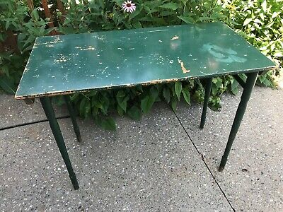 "Vintage Antique Oak Green Painted Wooden Folding Card Game Kids Table 36""x18"""