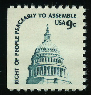 US #1590A 9¢ Capitol Dome Scarce Perf 10 heavy shading at left, VF NH MNH